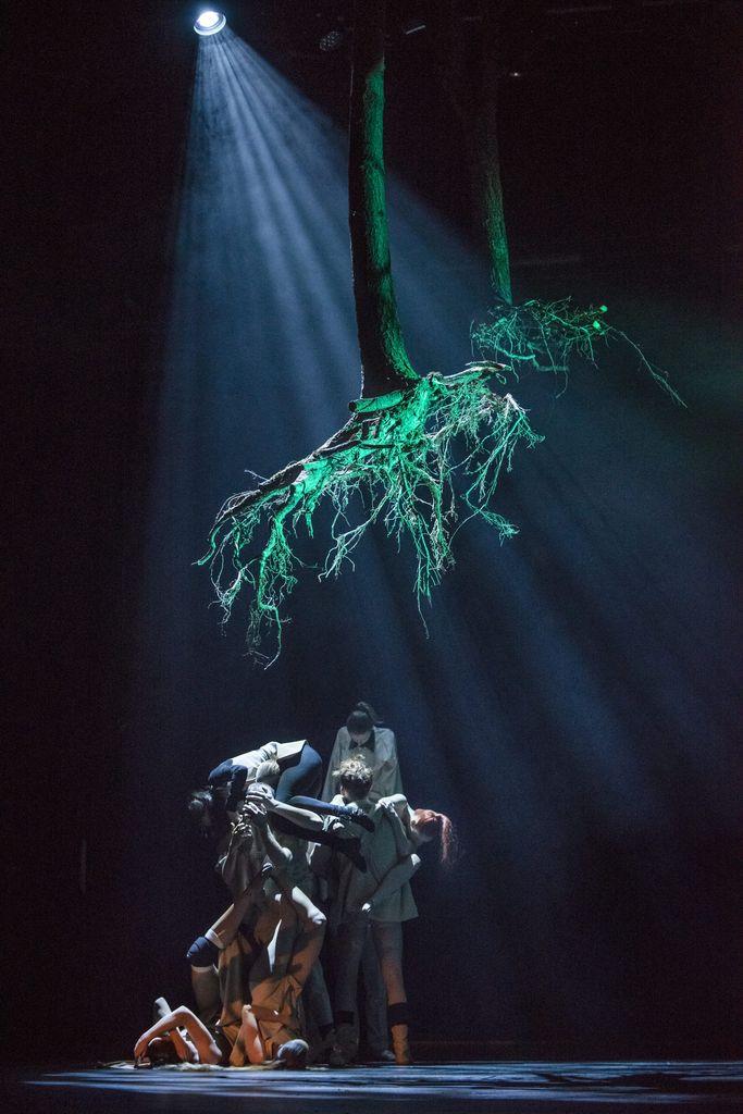 Na ciemnym tle zwarta grupka osób, na którą skierowane jest punktowe, jasne światło. Postaci stoją, leżą, unoszą innych na rękach. Nad nimi, w świetle reflektora, wiszą dwa drzewa, jakby wyciągnięte z ziemi, korzeniami skierowane w dół.