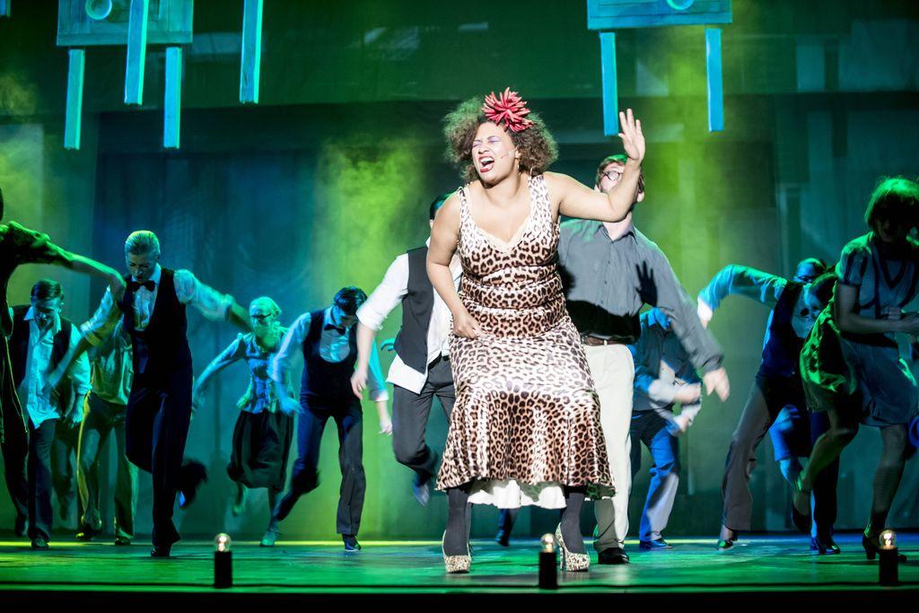 Na pierwszym planie znajduje się śpiewająca kobieta. Ciemnoskóra śpiewaczka jazzowa ubrana jest w obcisłą sukienkę w lamparcie cętki, ma buty na wysokim obcasie, w gęste włosy ma wpięty czerwony, duży kwiat. Za nią widać grupę tancerzy, tańczą w zielono-niebieskim świetle.