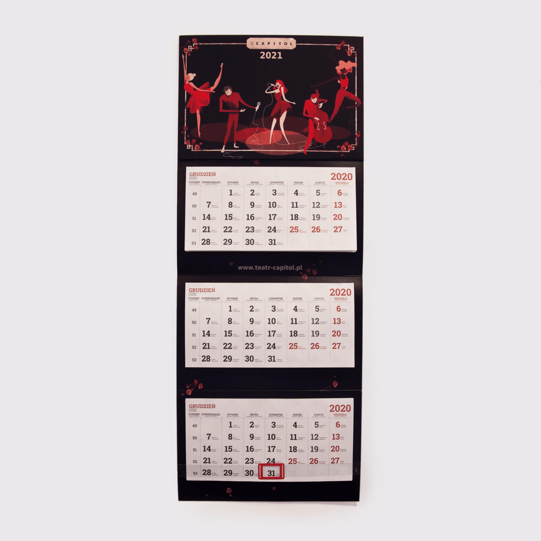 kalendarz trójdzielny z nową grafiką teatr - aktorzy i tancerze na scenie - projekt Dorota Dalidowicz