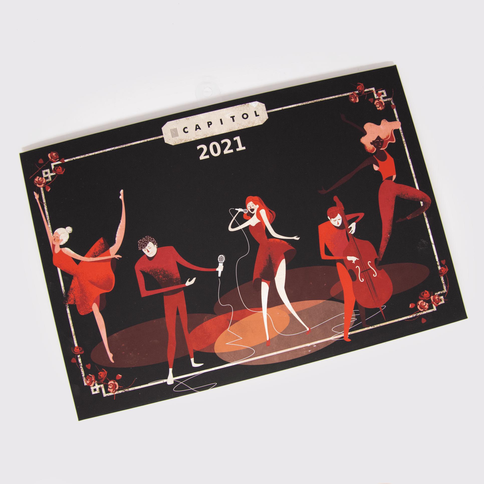 kalendarz 2021 trójdzielny - grafika przedstawia główkę kalendarza z postaciami teatralnymi - projekt Dorota Dalidowicz