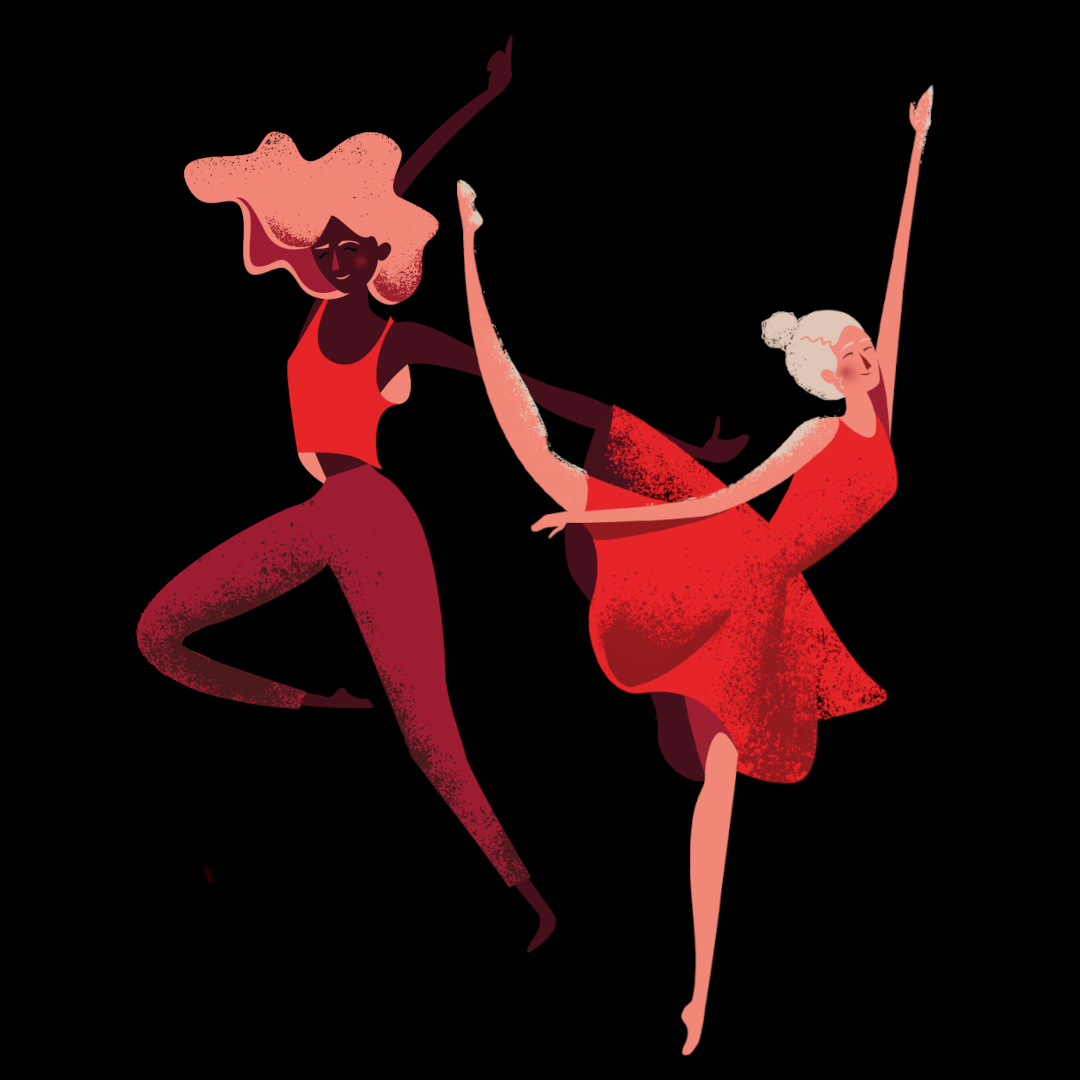 dwie tancerki na czarnym tle - grafika - Dorota Dalidowicz