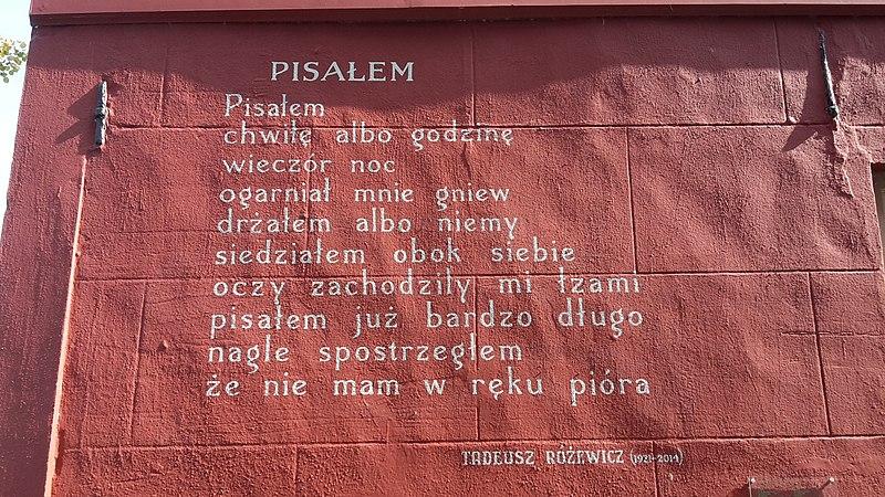 """Na zdjęciu mural poetycki w Lejdzie w Holandii. z wierszem Tadeusza Różewicza """"Pisałem"""""""