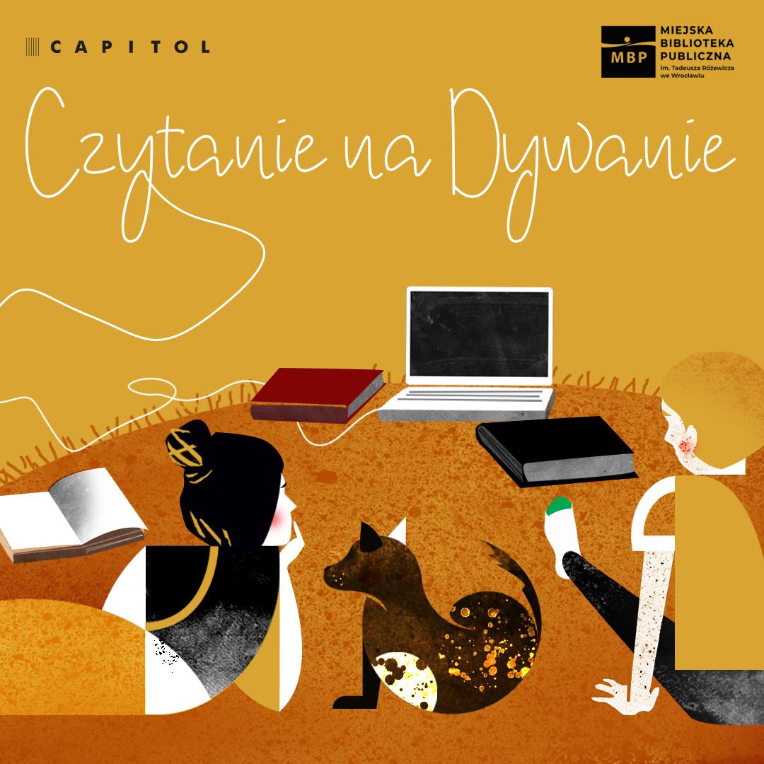 Grafika ukazuje postaci na dywnanie patrzące w laptopa przed nimi. Pomiędzy nimim pies i książki wokół laptopa - ilustracja Dorota Dalidowicz